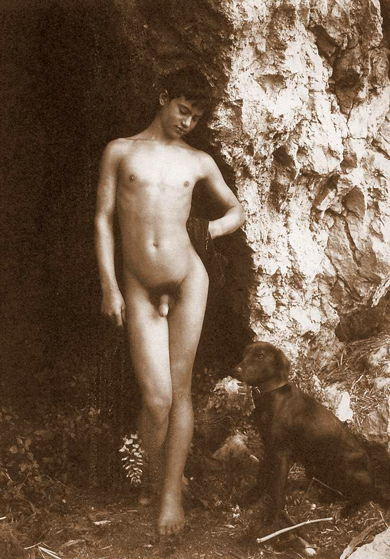 Gay Art - Wilhelm von Gloeden - Nude Young Boy and His Dog - The World ...