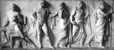 Surrender of Briseis; Marble bas-relief - Bertel Thorvaldsen